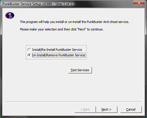 PBSS Uninstall Screen