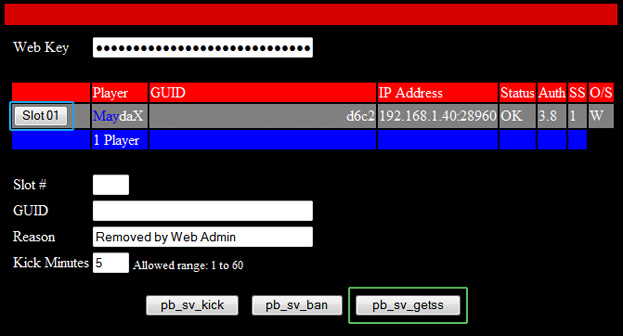 Webtool PBSS Screen